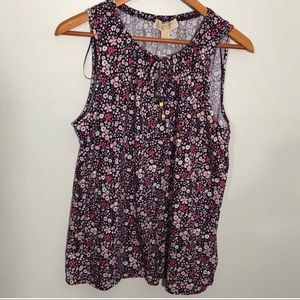 MK Michael Kors Floral tank with keyhole front